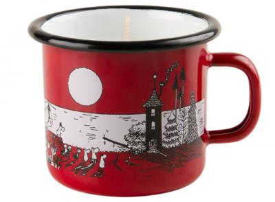 Candle in mug 2,5 dl, Evening at Moominvalley, red