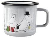 Moomin enamel mug 3,7 dl - Winter trip