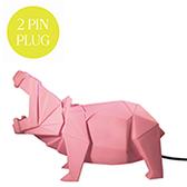 Flodhäst lampa - rosa, Euro plug