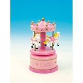 Träkarusell med hästar - rosa, liten
