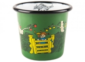 Pippi enamel tumbler, 3dl - Pippi at the gate, green