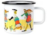 Pippi enamel mug, 3,7 dl - Pippi Longstocking (white)
