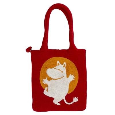 Mumin, röd väska i handfiltad ull, Klippan