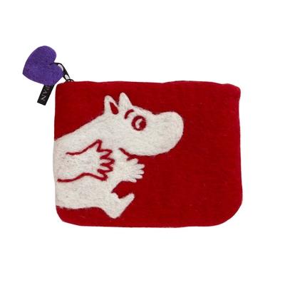 Mumin, röd börs i handfiltad ull, Klippan