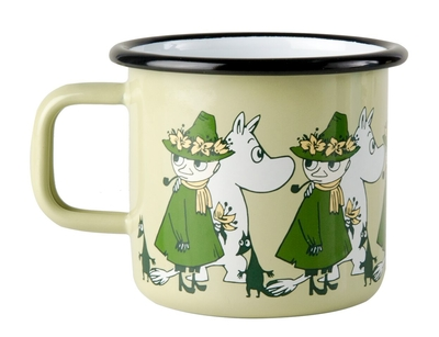 Moomin enamel mug 3,7 dl - Friends, green