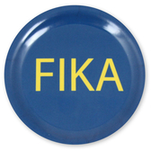 Fika coaster, blue with yellow text