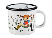 Enamel mug 1,5 dl - Pippi & Mr Nilsson, white