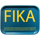 Fika tray, blue with yellow English text