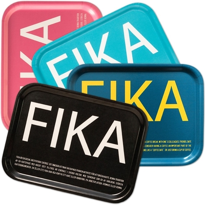 Fika tray, turquoise with white English text