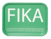 Fika tray, petrol with white English text