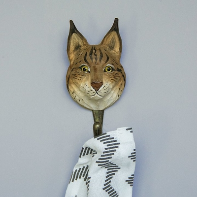 Hand carved hook Lynx