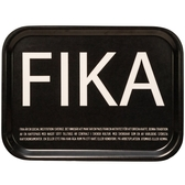 Fika tray, black with white English text