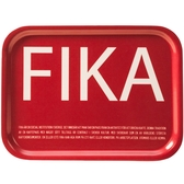 Fika tray, red with white English text