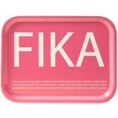 Fika tray, pink with white English text