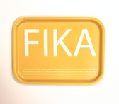 Fika tray, yellow with white English text
