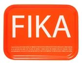 Fika tray, orange with white English text
