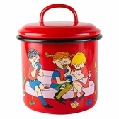 Pippi Longstocking enamel jar- 1,3 L - Cup of Coffee, red