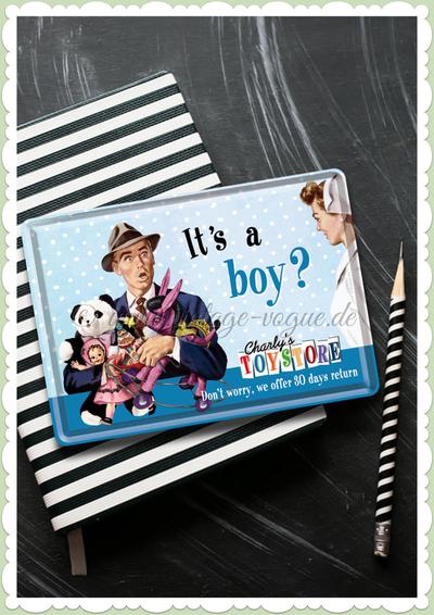 Vykort i plåt - It's a boy?