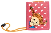 Pippi Longstocking Wallet, pink with white dots