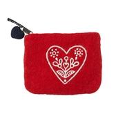 Heart & Flower, röd börs i handfiltad ull, Klippan