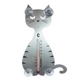 Temometer - Lurig katt, silver