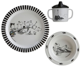 Moomin children's tableware set 3-pieces, black/white