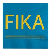 Fika napkins, blue/yellow with english text