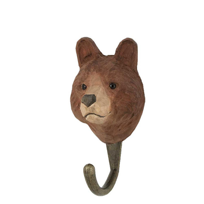 Hand carved hook Brown Bear