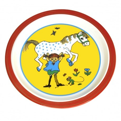 Pippi Longstocking Plate, Pippi lifting her horse