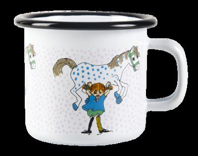 Pippi enamel mug, 2,5 dl - Pippi and the Horse, white