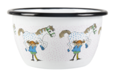 Enamel bowl 6 dl - Pippi and the Horse, white